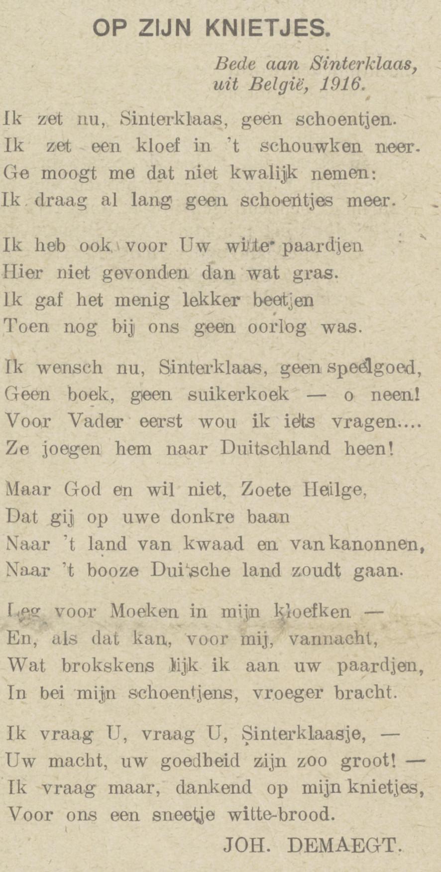 Op zijn knietjes. Bede aan Sinterklaas, uit België, 1916 - Vrij België (1/12/1916), p. 1