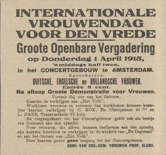 'Internationale vrouwendag', De Vlaamsche Stem, 28 maart 1915, p. 4