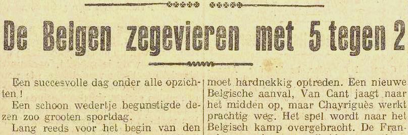 België klopt Frankrijk met 5-2 - NvdGO, Het Vaderland, 22/04/1918, p.1