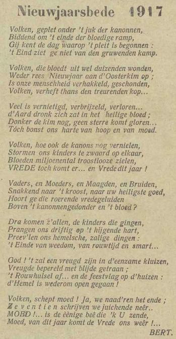 Nieuwjaarsbede 1917, De Werkman, 12 januari 1917, p. 1