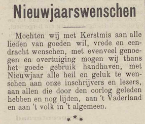 Nieuwjaarswenschen, Het Vlaamsch heelal: katholiek - zondagsblad, 2 januari 1915, p. 1