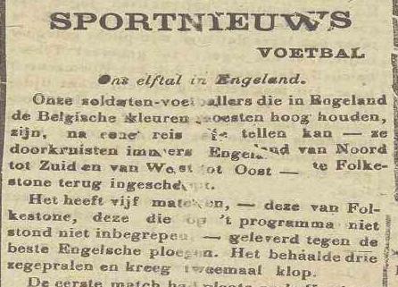 Ons elftal in Engeland - NvdGO, De Belgische Standaard 02/12/1917, p.2
