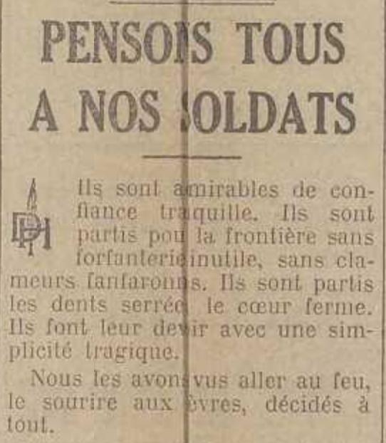 La Dernière Heure, 06/08/1914.