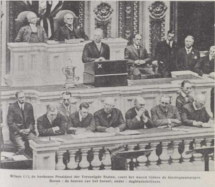 Woodrow Wilson voert het woord tijdens de verkiezingscampagne, Vlaamsch leven: zelfstandig Vlaamsch geïllustreerd weekblad, 19 november 1916, p. 7
