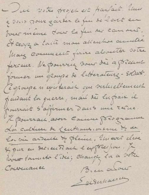 Brief van Emile Verhaeren, Bulletin des gens de lettres et artistes belges du front, 01 januari 1918