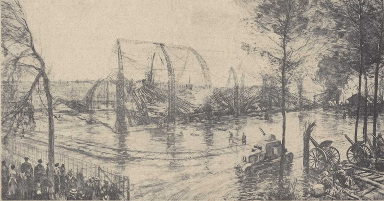 Het vernielde zeppelinluchtschip te Evere, door Alfred Bastien (De katholieke illustratie, 2/10/1915, p. 12)