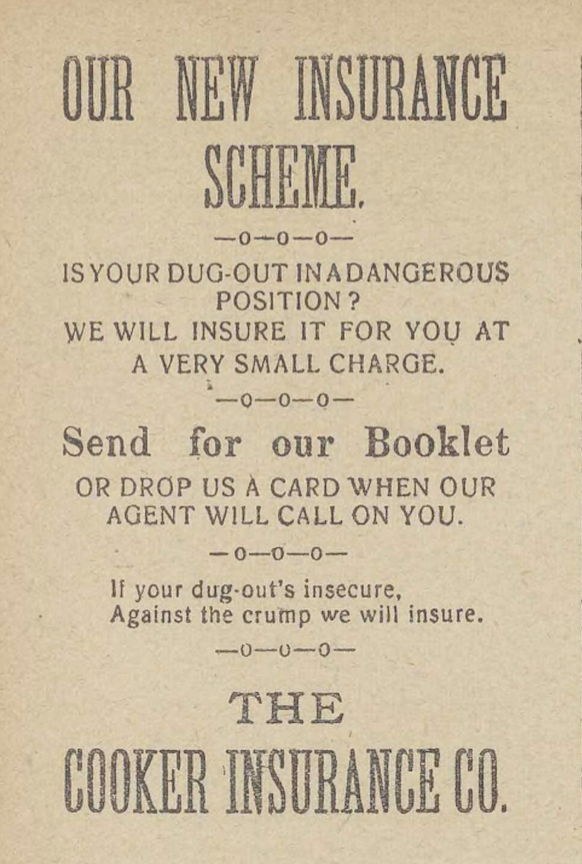 Our new insurance scheme. The Wipers Times, 03/07/1916, p. 11.