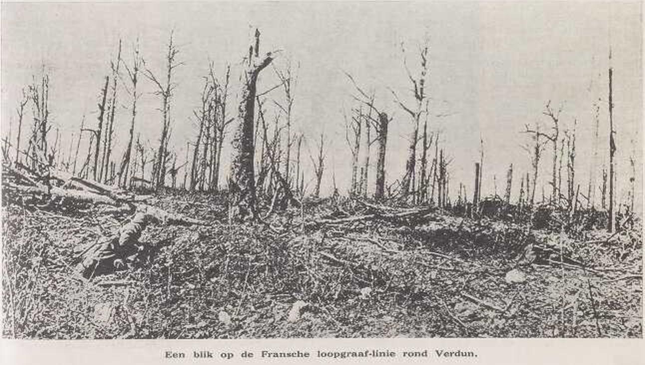 """""""Een blik op de Fransche loopgraaf-linie rond Verdun"""", Vlaamsch leven: zelfstandig Vlaamsch geïllustreerd weekblad, 4/6/1916, p. 5"""