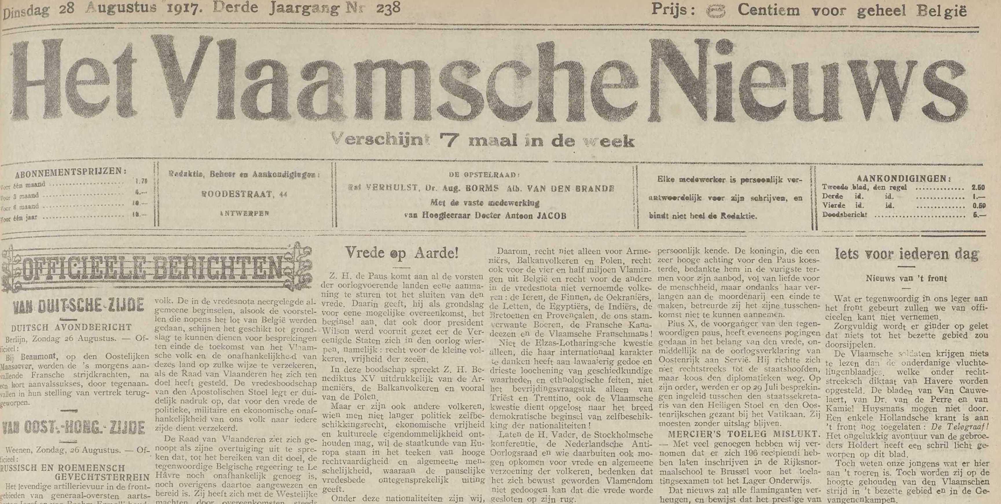 Extract uit Het Vlaamsche nieuws, p. 1, 28/08/1917
