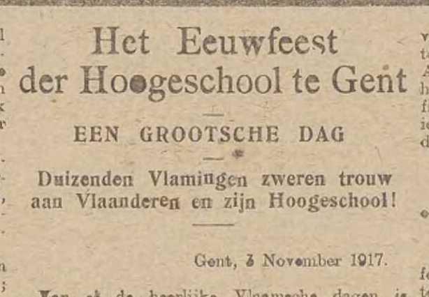 Het Vlaamsche Nieuws, le 7ème Novembre 1917