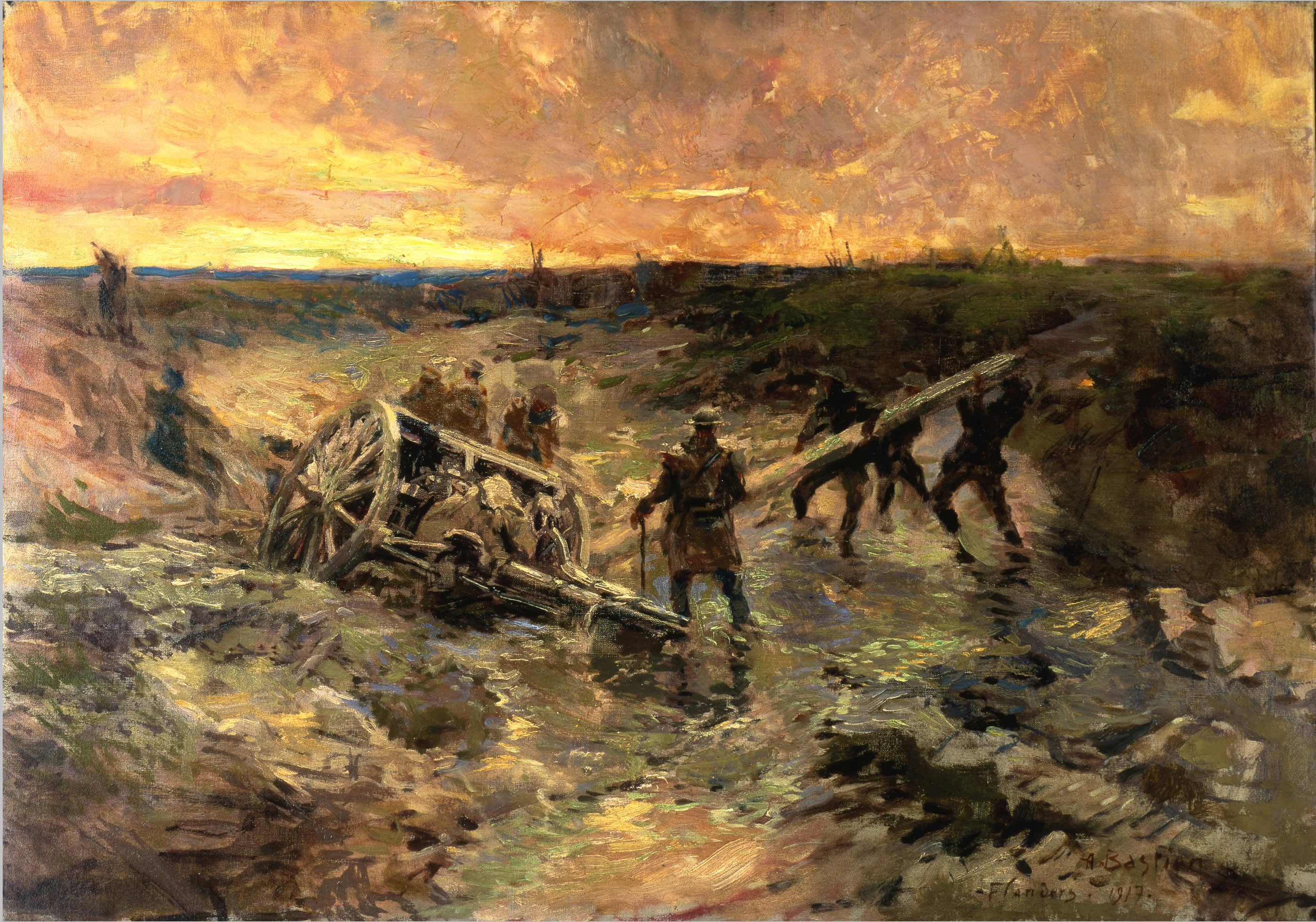 Canadian soldiers in the mud, by Alfred Bastien (source: commons.wikimedia.org)