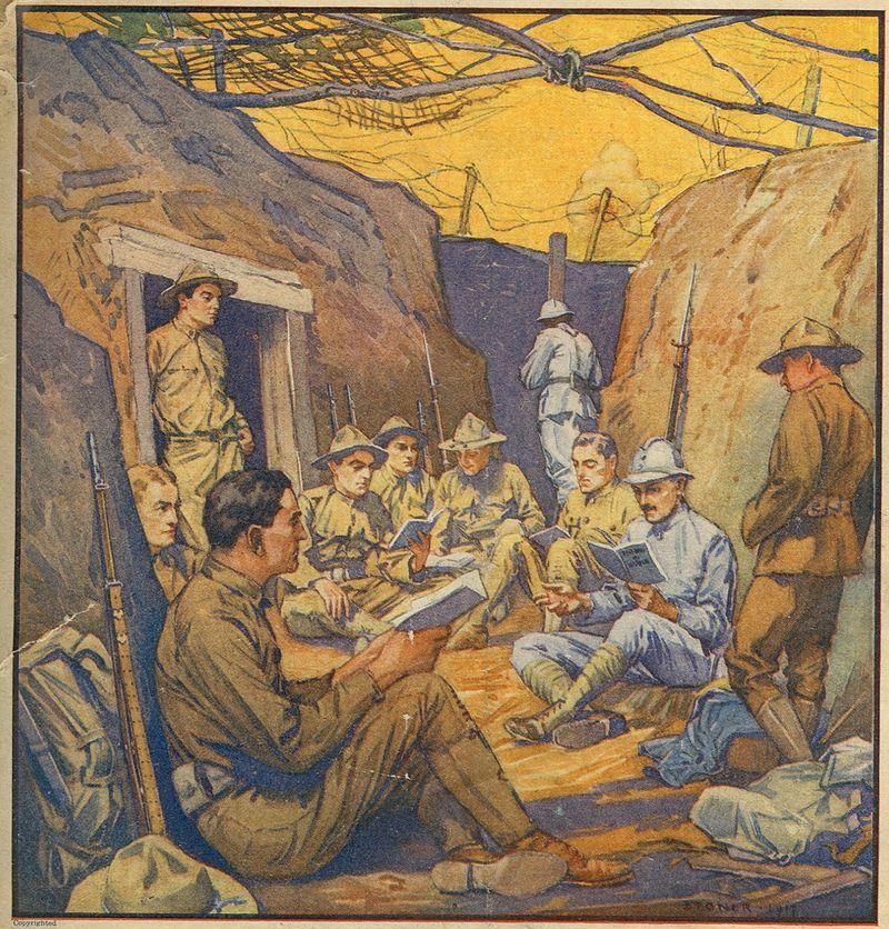 Studying French in the Trenches. Cover, The Literary Digest, October 20, 1917.