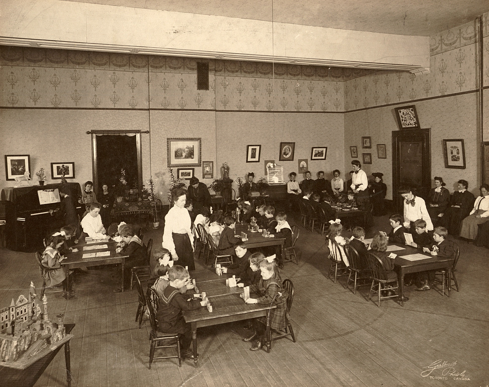 Student teachers training in a kindergarten class in 1898 in Toronto, Canada. Wikipedia.