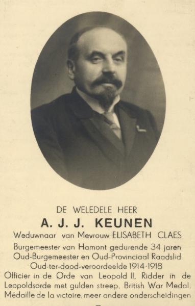 Het doodsprentje van Louis Keunen. Na het einde van de oorlog bleef hij nog 34 jaar lang burgemeester van Hamont. (Geschied- en Heemkundige Kring 'De Goede Stede Hamont', Hamont-Achel)
